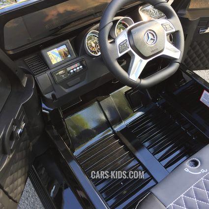 Электромобиль Mercedes-Benz G65 AMG белый глянец (АКБ 12v 7ah, колеса резина, сиденье кожа, пульт, музыка)